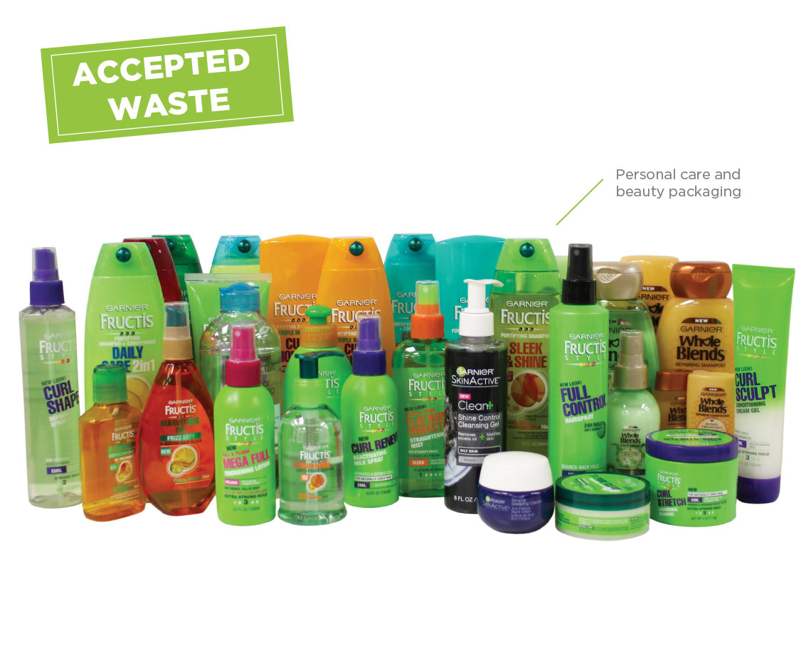 Personal Care and Recycling Program Accepted Waste
