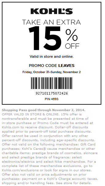 Kohls Coupon January 2018 Extra 15% off at Kohls, or online via promo code LEAVES