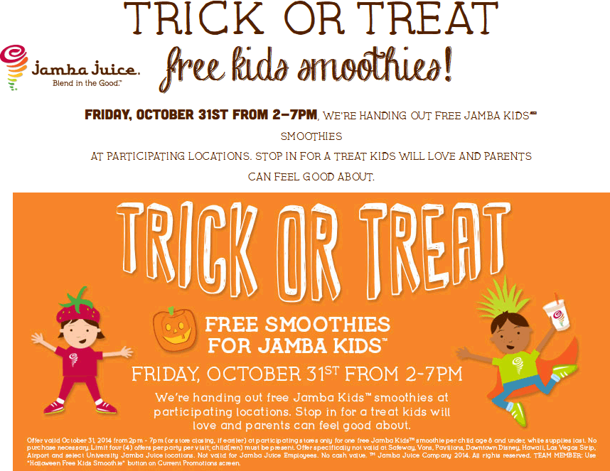 Jamba Juice Coupon September 2017 Free kids smoothie 2-7pm today at Jamba Juice