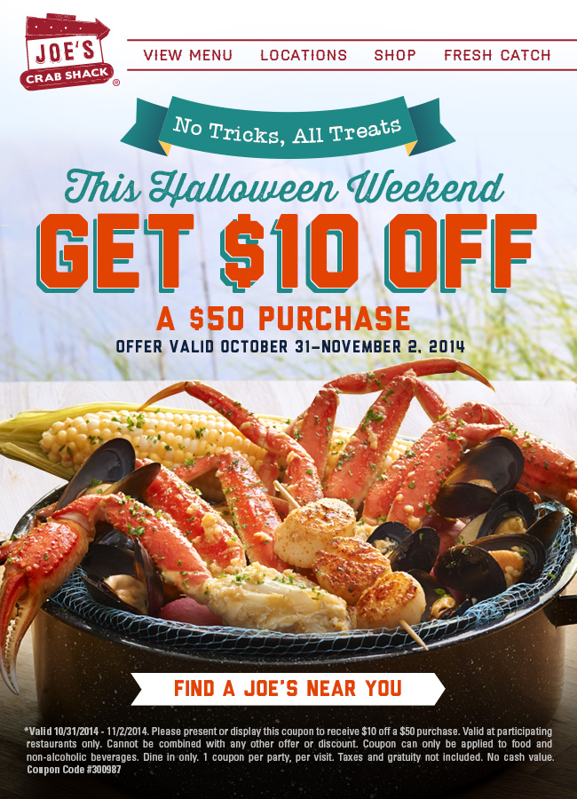 Joes Crab Shack Coupon February 2017 $10 off $50 at Joes Crab Shack restaurants (11/02)