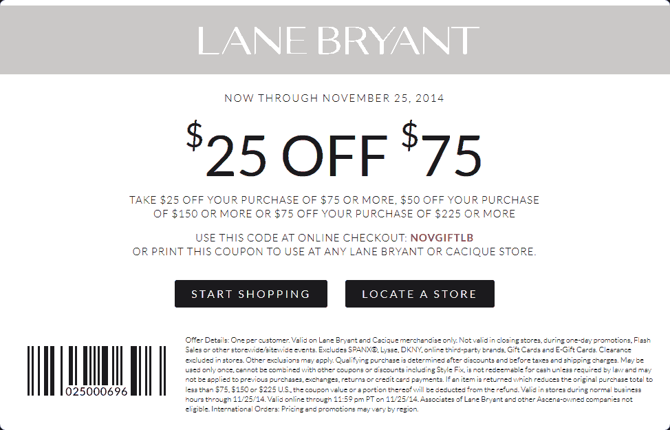 Lane Bryant Coupon March 2018 $25 off $75 at Lane Bryant, or online via promo code NOVGIFTLB