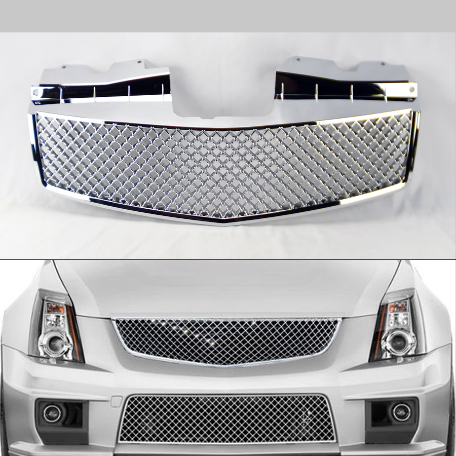 Front Honeycomb Mesh Chrome Front Hood Grill For Cadillac