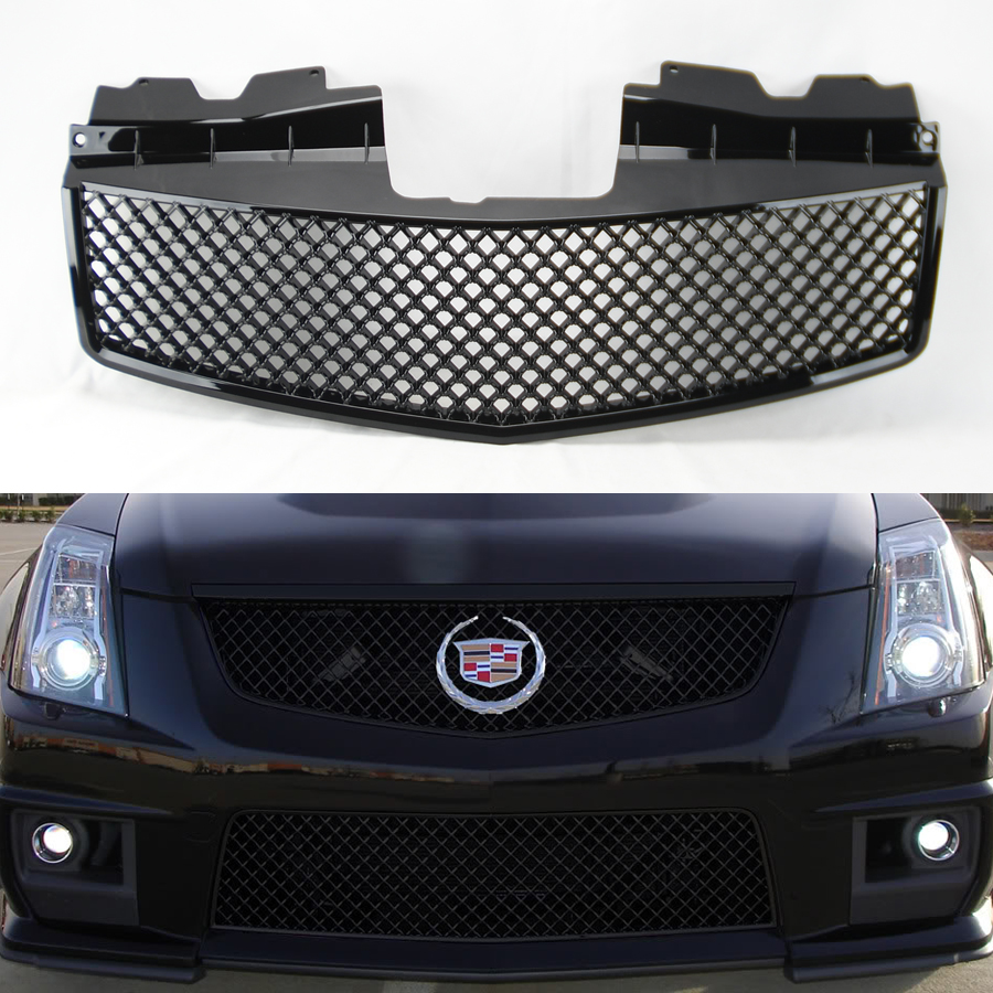 Front Honeycomb Mesh Gloss Black Front Hood Grill For