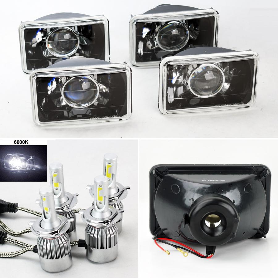 "FOUR 4x6/"" Semi Sealed Glass Black Headlights w// 6000K 36W LED H4 Bulbs Chevy"