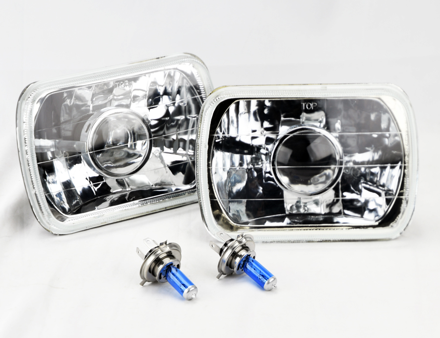 "7x6/"" Halogen H4 Black Chrome LED DRL Glass Headlight Conversion Pair RH LH Chevy"