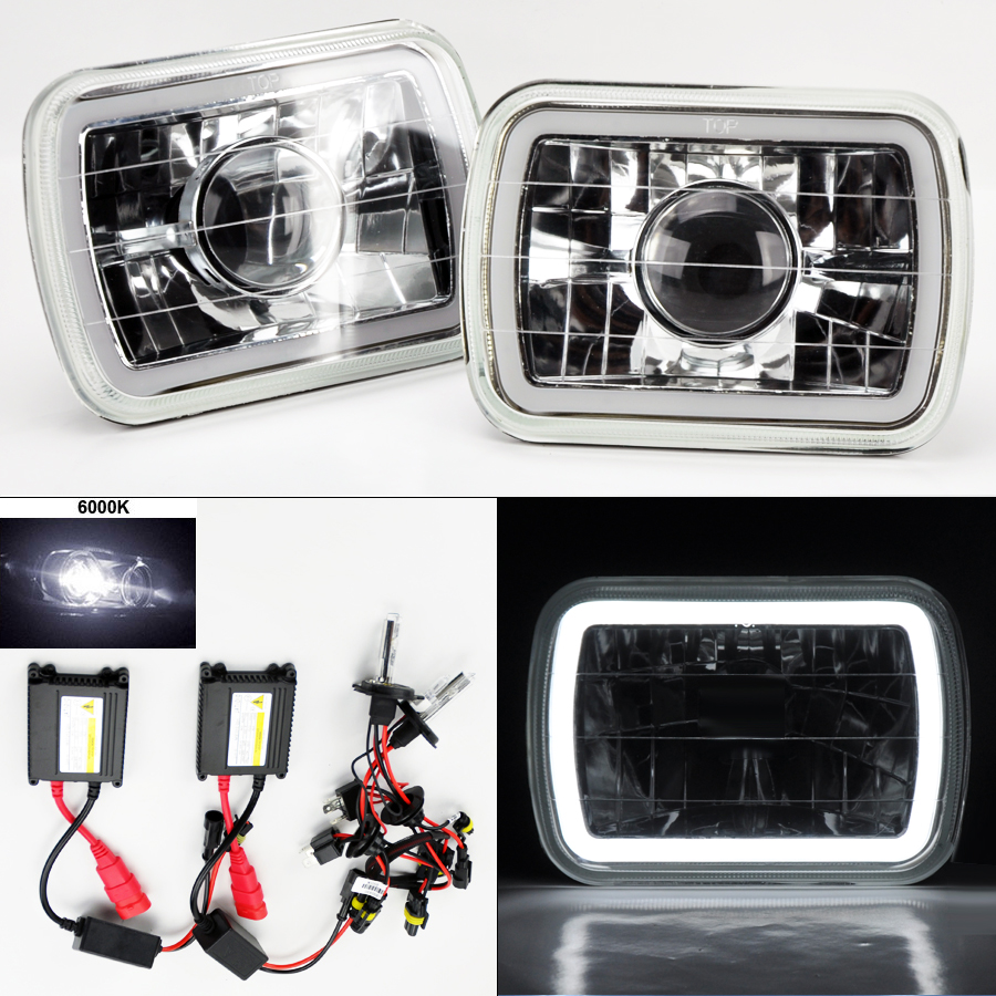 7x6 6k Hid Xenon H4 Clear Projector Glass Ccfl Halo Headlight 89 Dodge Omni Wiring Unbranded
