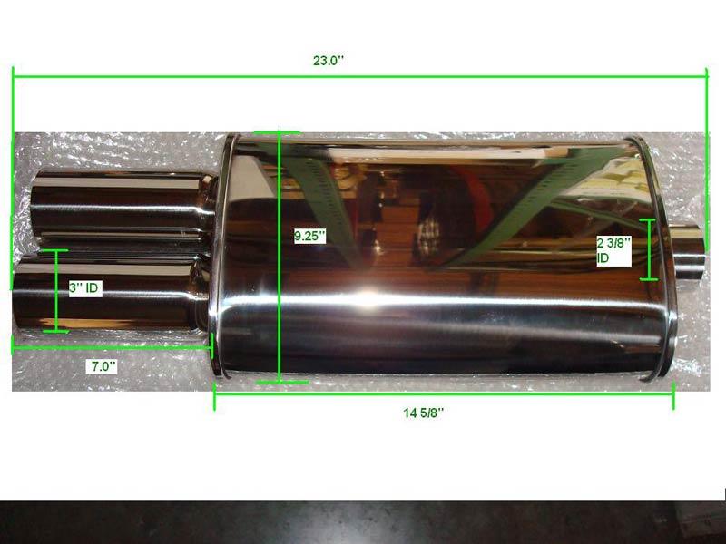 "Megan Racing Universal Exhaust Muffler MDT Dual 3.0/"" Tips 2.5/"" Inlet Stainless"