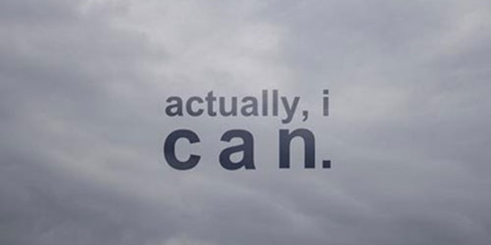 Text in clouds saying - Actually, I can.