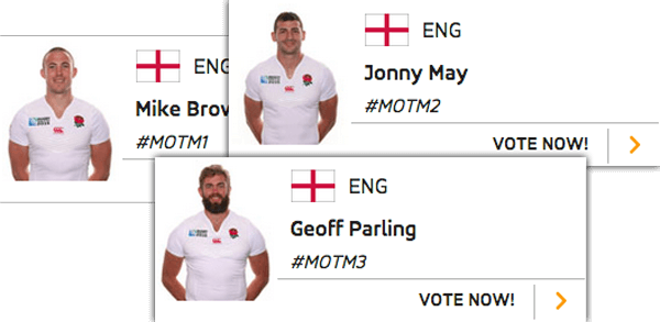 Man of the Match vote boxes