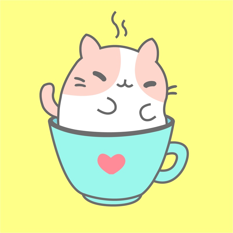 Kawaii kitty cafe logo