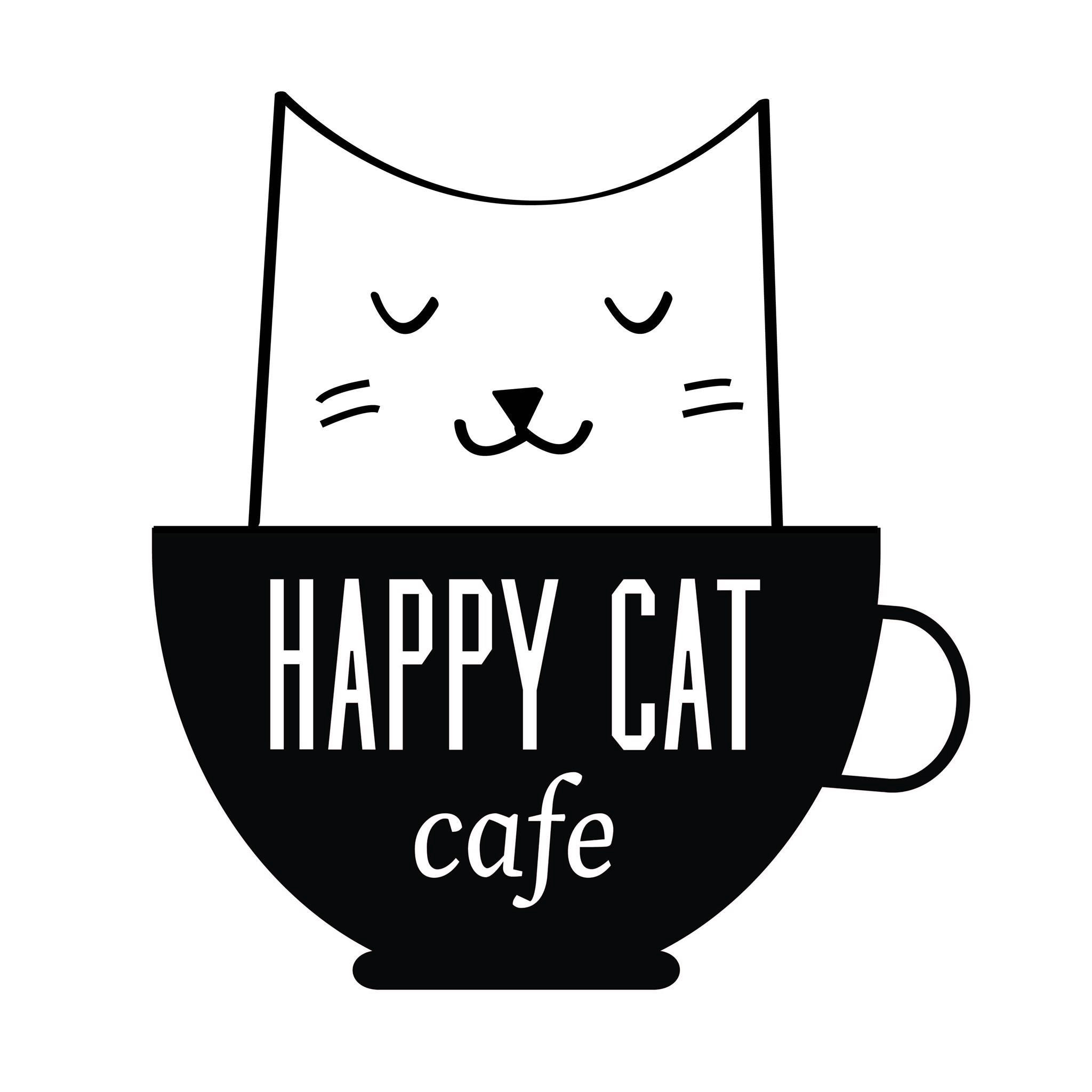 Happy cat cafe logo