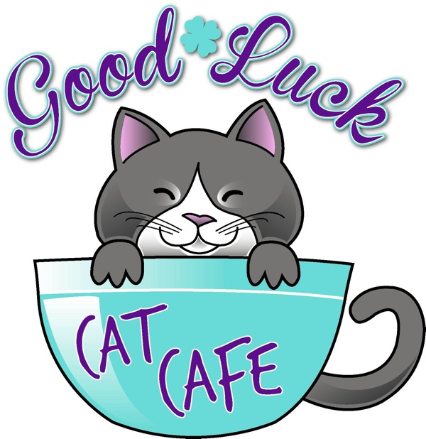Good luck cat cafe logo