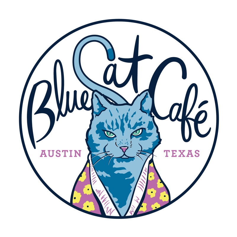 Blue cat cafe logo