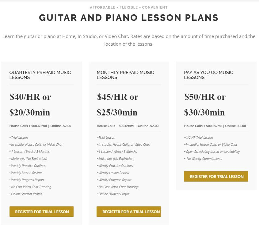 Music Lesson Rates and Discounts