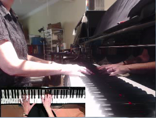 Piano lesson via Skype using webcam splitter software