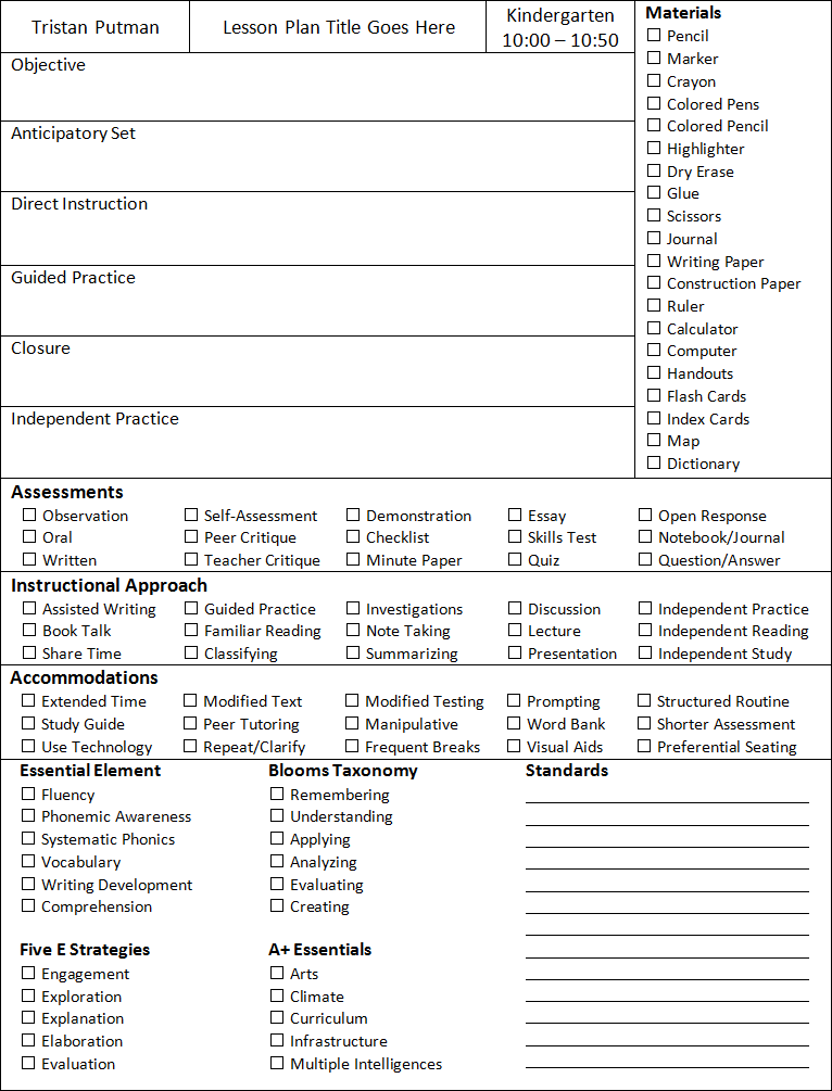 Lesson Plan Template Teacher 1 Stop
