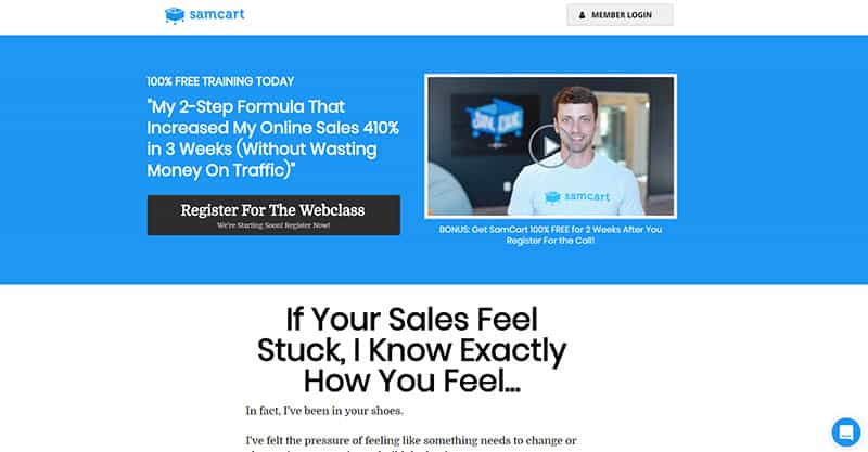 For Under 300 Samcart  Landing Page Software