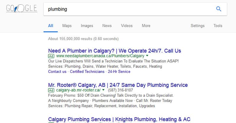 Promoting your pulmbing services on Google AdWords