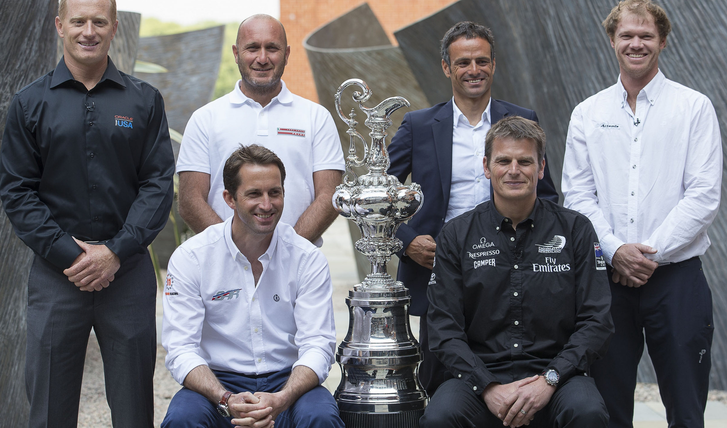 35th America's Cup, Skippers presentation press conference, London (UK), 09 Sept. 2014.James Spithill (ORACLE TEAM USA),  Max Sirena (Luna Rossa Challenge), Franck Cammas (Team France), Nathan Outteridge (Artemis Racing), Ben Ainslie (Ben Ainslie Racing),Dean Barker (Emirates Team New Zealand)