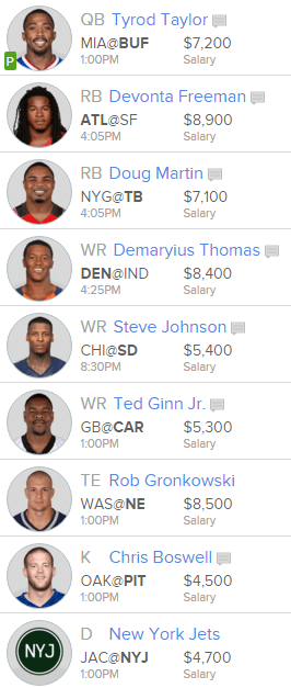 David s week 9 fanduel lineups back to basics notes from the sports