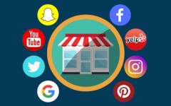 Social media app icons around a storefront