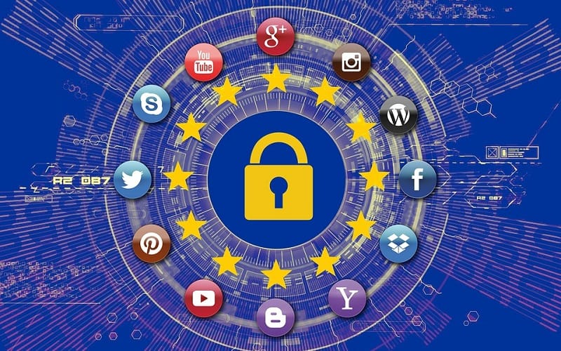 EU flag with lock and popular website logos