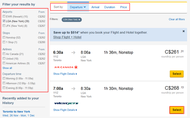 Select a flight on Expedia.com