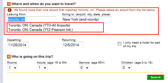 Filter through Expedia suggestions