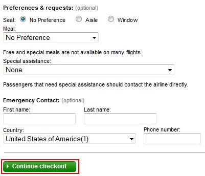 Continue Checkout button