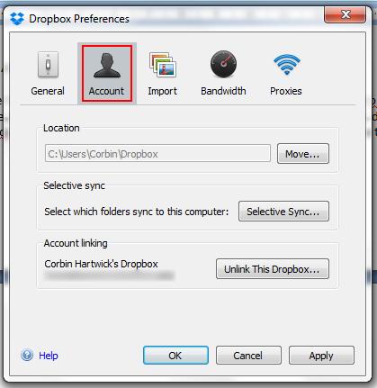 how to change dropbox account