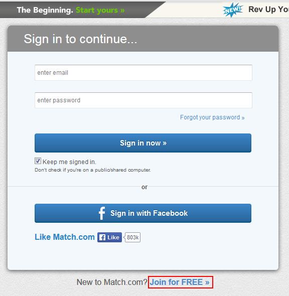 Match sign up screen
