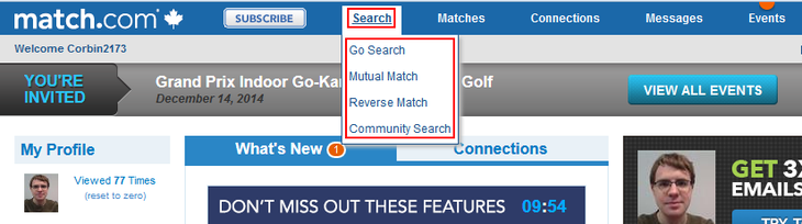 Search for matches menu option