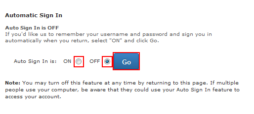 Automatic sign in option