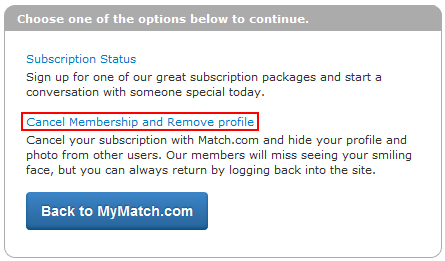 how to remove my profile from match com