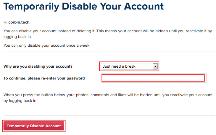How to delete an instagram account free instagram tutorials please re enter your password and type in the password that you use for your account finally click temporarily disable account ccuart Gallery