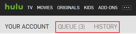 Hulue queue and history account settings buttons