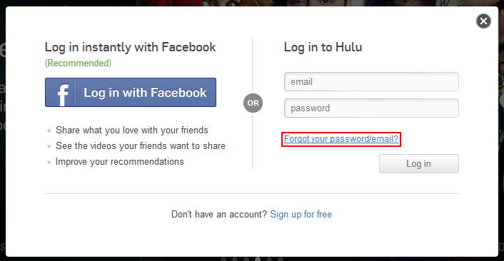 Hulu forgot password or email button