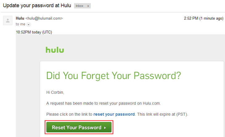 Hulu email with reset password link