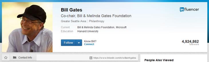 LinkedIn Bill Gates profile sample