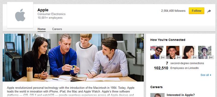 LinkedIn Apple company page sample