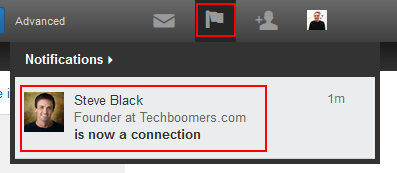 LinkedIn notification of connection