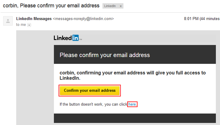 Confirm email address to create LinkedIn account