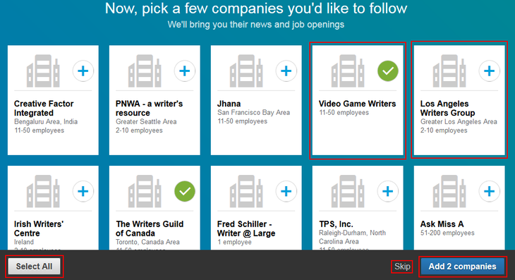 Follow companies when creating LinkedIn account