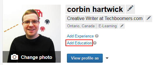 Sample of editing LinkedIn profile