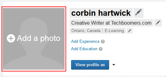 LinkedIn add photo button