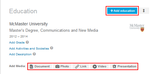 Options for adding education to your LinkedIn profile