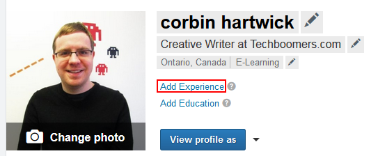 Add experience to LinkedIn profile