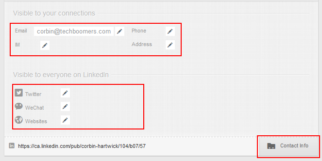Add contact information to LinkedIn profile