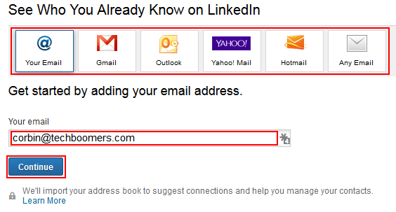 Find LinkedIn connections through email