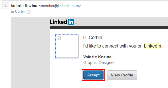 Accepting LinkedIn connections through email